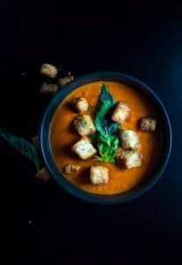 Tomato Soup with Garlic and Sage Croutons