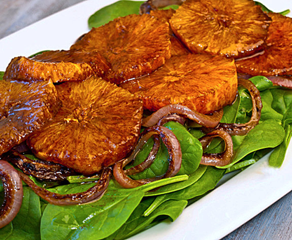 Oranges, Caramelized Red Onions and Baby Spinach in Balsamic Vinagrette