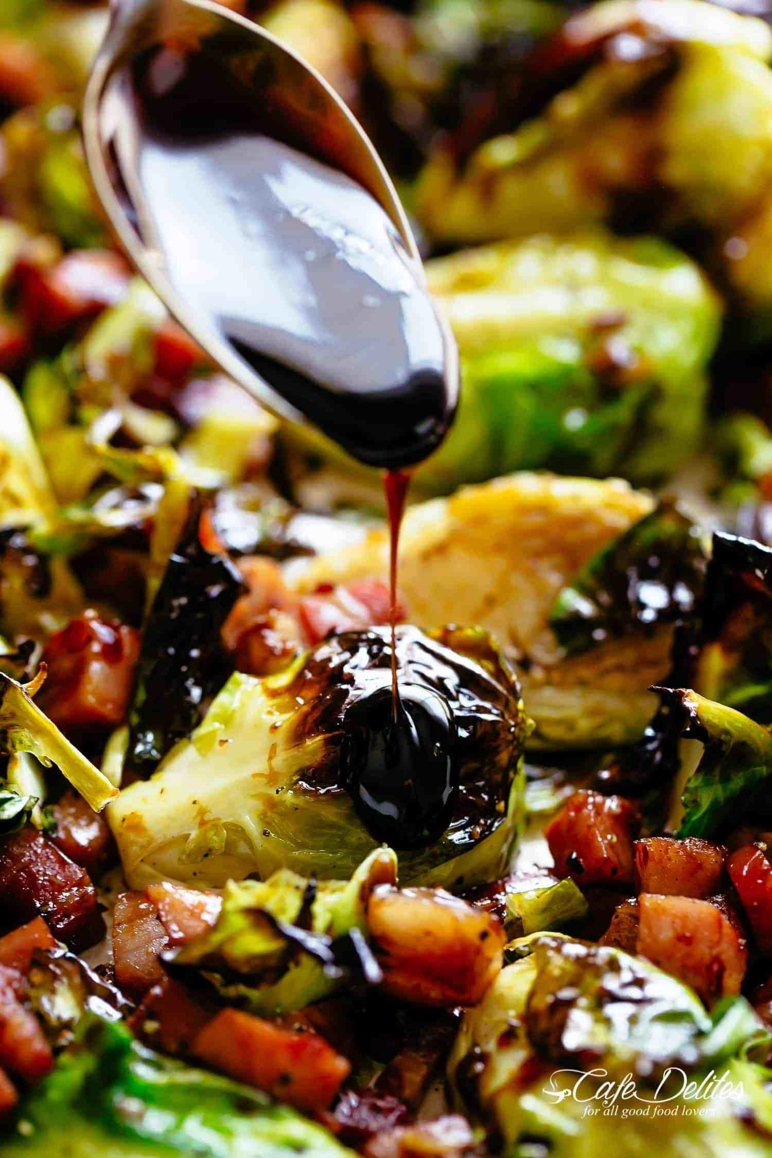 Balsamic Roasted Brussels Sprouts with Bacon