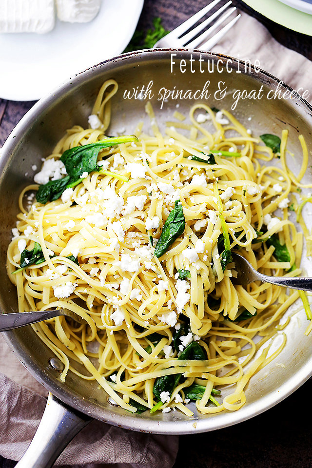 15-Minute Fettuccine with Spinach and Goat Cheese