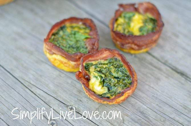 """Bacon Wrapped Egg, Spinach & Cheese """"Muffins"""""""